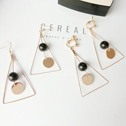 Wholesale Cheapest Clip Earrings - Cheapest Earrings Fashionable Korean Style Bead Decorated Triangle Ear Clips Earrings Gold