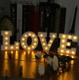 Wholesale White Marquees - 26 Letters White LED Night Light Marquee Sign Alphabet Lamp For Birthday Wedding Party Bedroom Wall Hanging Party Decoration CCA7411 500pcs
