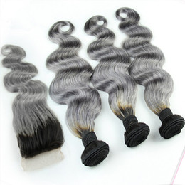 Wholesale Colored Brazilian Hair Weave - 1B Grey Brazilian Ombre Human Hair Bundles With Silver Grey Lace Closure Two Tone Colored Hair Weave With Closure Body Wavy 4Pcs Lot