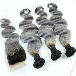 2019 34-дюймовый блондинка индийские волосы 1B / серый бразильский Ombre пучки человеческих волос с серебристо-серым закрытием шнурка два тона окрашенных волос с закрытием тела волнистые 4шт / лот