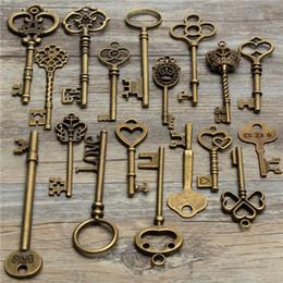 Wholesale Old Pendants - 18Pcs Antique Vintage Old Look Skeleton Key Lot Pendant Heart Bow Lock Steampunk