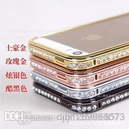 Wholesale Iphone 5s Swarovski - 2014 new For iPhone5 4 Diamond phone Borders 5S 4S Tyrant gold metal frame with diamond protective cover phone case Swarovski Lo drill