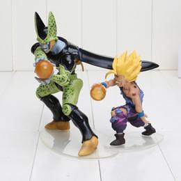 Wholesale Wholesale Showcase Sets - 2pcs set Dragon Ball Z Cell Son Gohan with Crystal Balls Dramatic Showcase Anime PVC Action Figure Doll Model Toy
