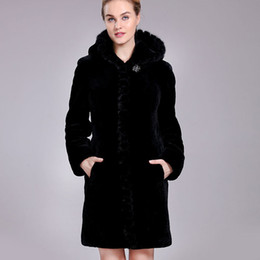 Wholesale Sheepskin Coats For Women - Sheep Shearing fur coat for Woman winter natural sheepskin fur overcoat female long clothes with hooded mink fur collar