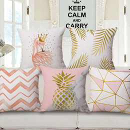 Wholesale Nordic Covers - printed pink and gold cushion cover pineapple fundas cojines simple nordic throw pillow case 2018 decorative almofada