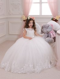 Wholesale hot holy dress - Hot Sale Ball Gown Holy Communion Dresses Custom Made White Flower Girl Dresses for Wedding Lace Appliques Beaded Pageant Gown