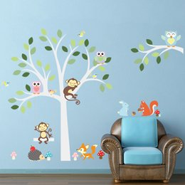 Wholesale Owl Monkey Room Decor - Cartoon Monkey Owls On The Tree Wall Stickers Removable PVC Animals Stickers Home Decor Adesivo De Parede Kids Rooms