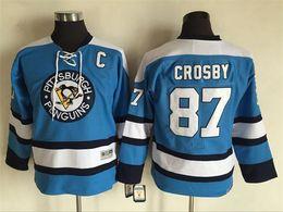 pullover da hockey di sidney crosby a buon mercato Sconti Alta qualità ! 2016 Youth Kids CCM Pittsburgh Penguins maglie di hockey su ghiaccio Cheap # 87 Sidney Crosby Boys maglie Authentic retro maglie
