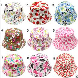 Wholesale Kids Summer Hats Sale - Hot Sale 36 Colors Children Bucket Hat Casual Flower Sun Printed Basin Canvas Topee Kids Hats Baby Beanie Caps