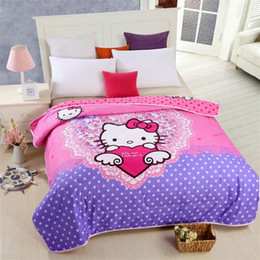 Wholesale Thin Quilts For Summer - Blue Pink Hello Kitty Thin Quilt Home Textile Summer Quilts for Kids Gift Washable Comforter, Air-condition Cartoon Blanket