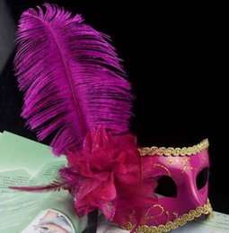 Wholesale Wholesale Feather Mardi Gras Mask - 2016 Women Girls Ostrich Feather Mask Crystal Diamond Lace Mask Venetian Mask Masquerade Masks Mardi Gras Masks Party Masks