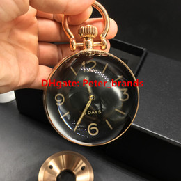 Wholesale Steel Needles Ball - Rose gold spherical desk table clocks high grade Swiss quality stainless steel ball glass see through movement hand winding office clock
