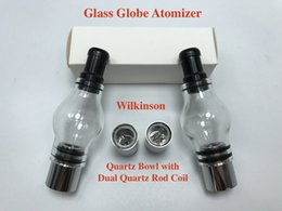 Wholesale Ego Bowl - Best Glass Globe Atomizer pyrex glass tank Quartz Bowl with Dual Quartz Rod Coil Wax Herb Vaporizer for 510 eGo Battery