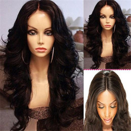 Wholesale Thick Synthetic Wigs - 6A Grade Hot Selling Heat Resistant Boby Wave Synthetic Lace Front Wigs With Baby Hair 150- 180 Density Thick Synthetic Hair Wigs