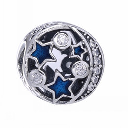 Wholesale Vintage Enamel Sterling - Vintage Night Sky Charms Bead 925 Sterling-Silver-Jewelry AAA CZ Midnight Enamel Moon Star Beads DIY Charm Bracelets Making Accessories