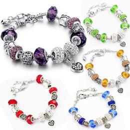 Wholesale Amethyst Cross - Silver Plated Heart Love Blue Murano Charm Fit Pandora Bracelet for Women Christmas Eve Bracelet