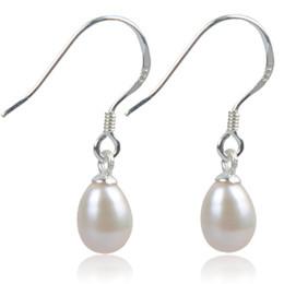 Wholesale Freshwater Pearl Drop Earrings - Elegant 925 Silver Hook Dangle Pearl Earrings Of 100% Natural Freshwater Drop Earrings For Women Girl Wedding Gift