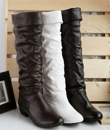 Wholesale Korean Thigh High Boots - Free drop shipping fashion Korean type ladies keep warm long boots Autumn Winter over-knee wedges boots shoes 34-43 large size