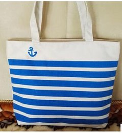 Wholesale Eco Recycle Bag - Fashion Canvas Shopping Bag Stripes Fashion Tote Casual Handbag Large Travel Designer Eco Recycle Bag Shoulder Bag Outdoor Travel Wholesale