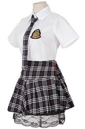 Wholesale School Girl Black Costumes - Women Cosplay Dress School Girls Uniform Red Plaid Pleated Black Lace Skirt