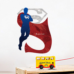 Wholesale Hero Wall Poster - 2017 New Cartoon Super Hero Poster Graphic Kids Boys Room Wall Applique Home Decor Wall Decal Superman Free Shipping