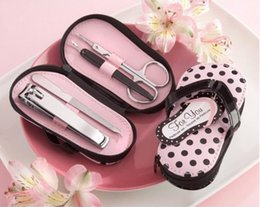 Wholesale Purse Favors - 100sets slipper style Pink Polka Dot Purse Manicure Set Shower Favors Flip Flop Nail scissor Care Pedicure Set, free ship