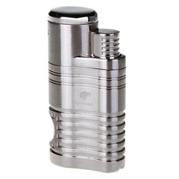 Wholesale inflatable lighter - COHIBA Fashion High Quality Windproof Lighter Torch Jet Flame Refillable Inflatable Four Flame Lighter & Cigar Punch Lighter