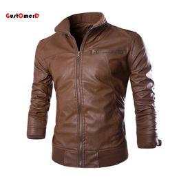 Wholesale Fitness Brands Coats - Fall-2016 New Fashion PU Leather Jacket Men Jaqueta De Couro Masculina Brand Mens Jackets And Coats Skinny Fitness Motorcycle Jacket