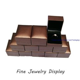 Wholesale Coffee Box Packaging - Sale 24pcs lot Jewelry Box Coffee Super Leatherette Plastic Ring Box for Jewellery Packaging and Display Holder Gift Box