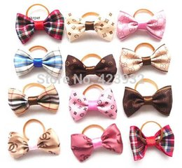 Wholesale Handmade Hair Accessories Mixed - Handmade Pet Grooming Accessories Mixed Ribbon Hair Bow Dog Rubber Bands Dog Hair Bows, Dog Show Supplies