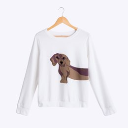 Wholesale Cute Tops For Women - Wholesale- Dachshund Print Women Sweatshirt Cute White Hoodie Loose Tops For Women Dog Print Pullovers Casual Long Sleeve T61204