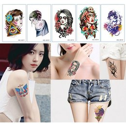 Wholesale Tattoo Design Colorful - 240Pcs Lot 155*100MM Mandala Shoulder Tattoo Sticker Colorful Buddhist Body Tattoos 62 Designs For Choose Free Shipping
