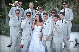 Wholesale Grooms Linen Wedding Suits - 2015Summer Men Suits Beach Grey Linen Suits Notched Lapel men wedding suits grooms tuxedos slim fit suits(Jacket+Pants+vest+tie)Free Shiping