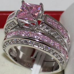 Wholesale Pink Stones Jewelry - Eternity Lady's 925 Sterling Silver Square Simulated Pink Diamond CZ Paved Stone 2 Wedding Band Ring Sets Jewelry for Women