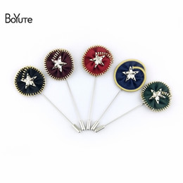 Wholesale Pentagram Metal - BoYuTe New Product 5Pcs High Quality Metal Zipper Disc Brooch Handmade Pentagram Men Lapel Pin for Suits Fashion Jewelry