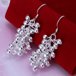 Wholesale Wholesale Beaded Chandeliers - New Style Fashion 925 Sterling Silver Earrings Smooth Grape Beaded Earrings Bohemia Statement Jewelry Women's Dangle Earrings Silver Earring