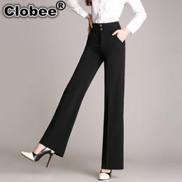 Wholesale High Waist Bootcut Legging - S-6XL Plus Size Womens Pants Spring Autumn Women Wide Leg office Pants High Waist Ladies Pants Black Formal Straight Trousers