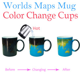 Wholesale Wholesale Eco Earth - Wholesale- Worlds Maps Color Change Mugs Earth Night Mug Ceramic Coffee Drink Cup Globe Worlds Maps Creative Gifts Dropshipping