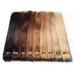 "Wholesale 27 613 Hair Weft Extensions - Cheap Brazilian Human Hair Extensions straight 10""-28"" color 1# 1B# 2# 4# 6# 27# 99j# 60# 613# 100g pcs Human Hair hair products"