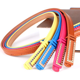 Wholesale Ladies Faux Leather Jeans - New Design Rivets Women Belts 10 Candy Colors Waist Bands for Ladies Dresses Fashion Girls Jeans Leather Belt Top Sale