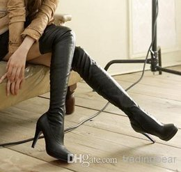 Wholesale Cheap Black Sexy Heels - New black leather over the knee high heels boots women sexy slim fit thigh long boots 2014 winter cheap boots size 35 to 39