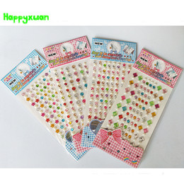 Wholesale Self Adhesive Foam Stickers Wholesale - Happyxuan 4pcs lot 22.5*10cm Diy Crystal Diamond Stickers Star Pearl Children's Creative Self Adhesive Decoration Learning Toys