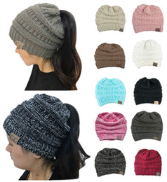 Wholesale Green Ponytail - CC Trendy Winter Warm Knitted Women Skull Caps Chunky Soft Slouchy Beanies Ponytail Stretchy Hat for Ski Bike Sports