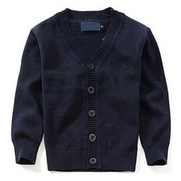 Wholesale Kids V Neck Sweater - New Brand Boy Sweater 100% cotton baby sweater children's clothes V-neck polos sweaters High Quality kids outerwear Girl sweater