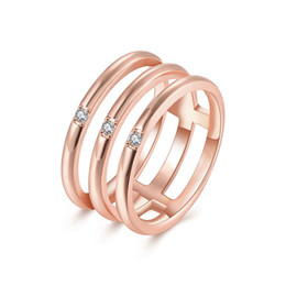 Wholesale Three Finger Gold Plate - Wholesale 18K Rose Gold Plated Three Round Rings Set with Clear Cubic Zircon For Woman Party Finger Wedding Ring New R118