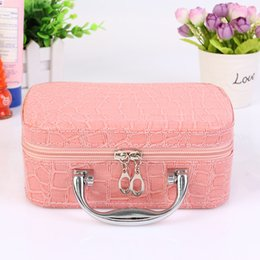 23f73b0c5f94 Hot 2017 Small Mini Alligator Cosmetic Cases Cute Flower Lady Makeup Bag  Women Jewelry Display Case Suitcase Crocodile Tote