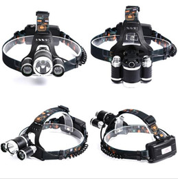 Wholesale Rechargeable Headlight Usb - 5000LM XML-T6+2xR5 LED HeadLamp Waterproof Headlight head light Fishing Lamp Lantern +2x 18650 Battery + Car   USB  AC Charger