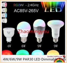 Discount led cree lamp bulb 6w - E27 GU10 2.4G Wireless Dimmable Mi Light MILight RGBW RGB+COOL WHITE RGB WW RGB+WARM WHITE 4W 6W 9W PAR30 LED Dimmable Bulb Lamp
