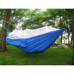 Wholesale Nylon Person Hammock - Multi-color 260 x 138cm Portable Hammock Single-person Folded Into The Pouch Mosquito Net Hammock Hanging Bed For Travel Kits Camping Hiking
