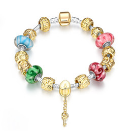 Wholesale Agate Pendant Bead Set - Brand New Cason Elegant Golden Silver Plated Fashion Sytle Women Pendant Beaded Bracelets With Multicolor Murano Beads Drop Shipping PH017